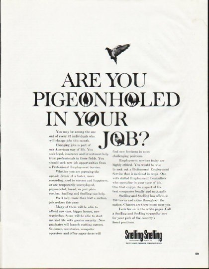 """1965 Snelling and Snelling Ad """"Pigeonholed"""""""