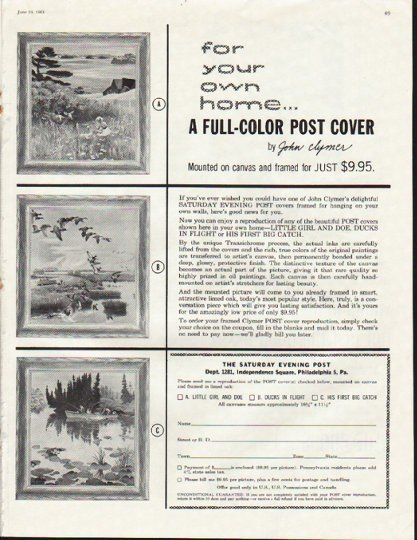 """1961 John Clymer artwork Ad """"for your own home"""""""