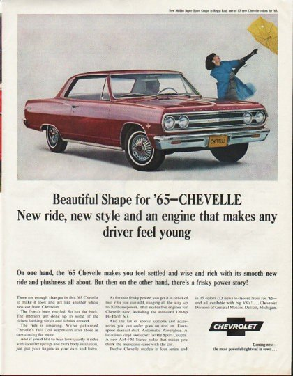 "1965 Chevrolet Chevelle Ad ""new style"" ~ (model year 1965)"