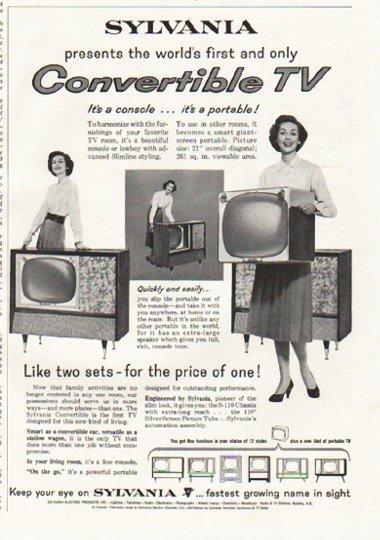 """1958 Sylvania TV Ad """"Convertible TV"""""""