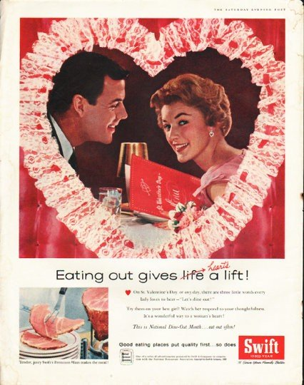 """1958 Swift's Premium Ham Ad """"Eating out"""""""