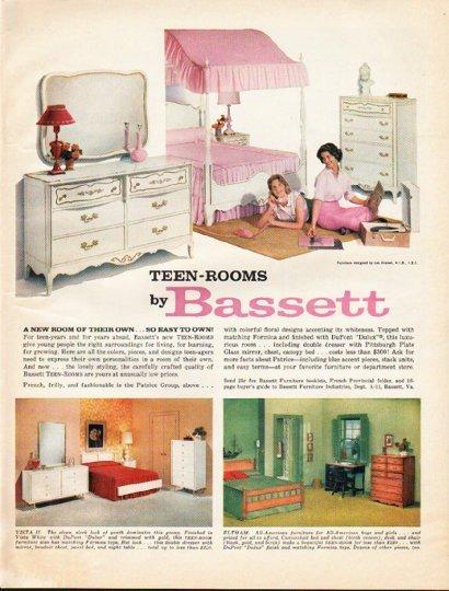"1961 Bassett Furniture Ad ""Teen-Rooms"""