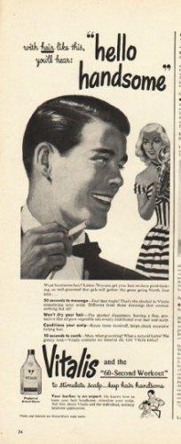 "1948 Vitalis Ad ""hello handsome"""
