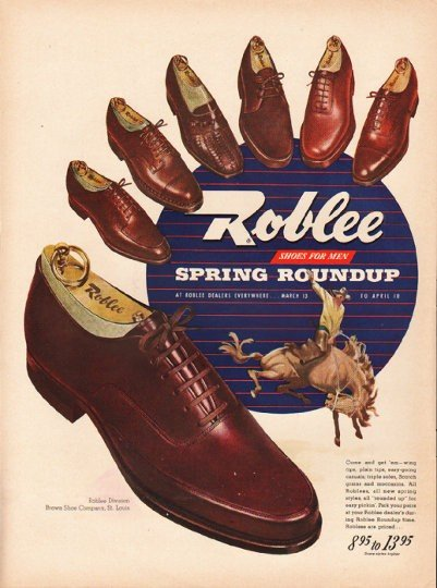 """1948 Roblee Shoes Ad """"Spring Roundup"""""""