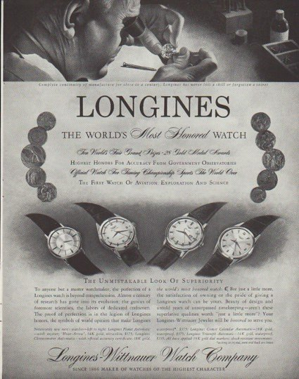 "1958 Longines-Wittnauer Watch Ad ""Most Honored"""