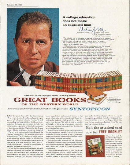 """1963 Great Books of the Western World Ad """"college education"""""""