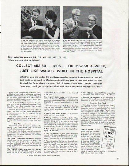"1965 American Republic Insurance Company Ad ""sick or injured"""