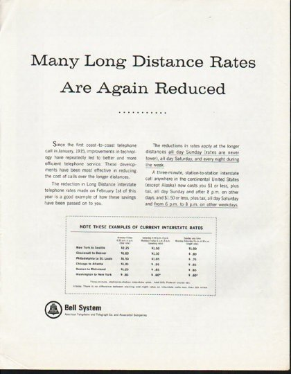 """1965 Bell System Ad """"Long Distance Rates"""""""