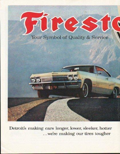 "1965 Firestone Tires Ad ""Symbol of Quality & Service"""