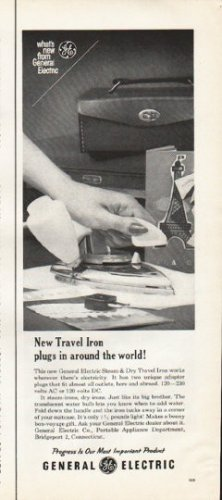"""1961 General Electric Ad """"New Travel Iron"""""""