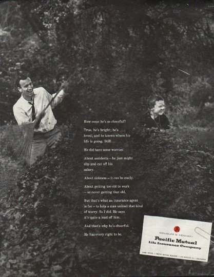 "1961 Pacific Mutual  Ad ""cheerful"""