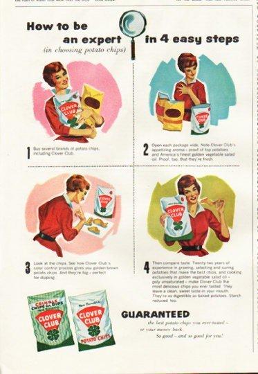 """1961 Clover Club Potato Chips Ad """"be an expert"""""""