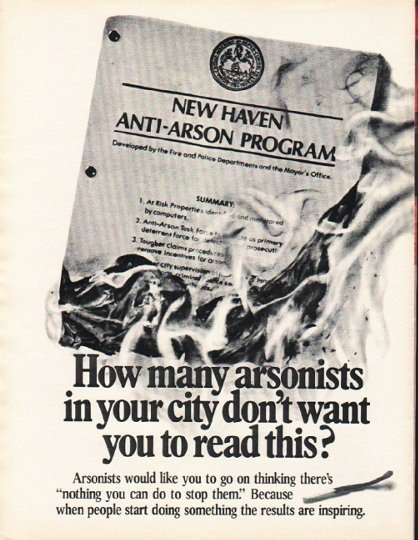 """1980 Aetna Life & Casualty Ad """"How many arsonists"""""""