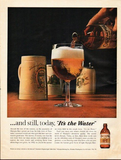 """1961 Olympia Beer Ad """"still, today"""""""