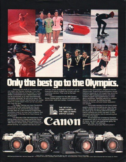 """1980 Canon Camera Ad """"Only the best"""""""