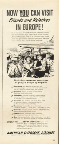 """1948 American Overseas Airlines Ad """"Europe"""""""