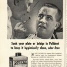 "1948 Polident Denture Cleaner Ad ""False Teeth?"""