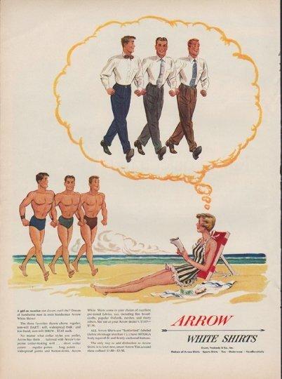 """1950 Arrow Shirt Ad """"A girl on vacation"""""""