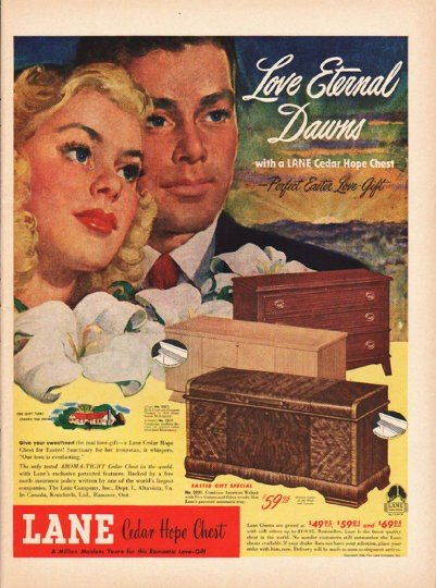 "1948 Lane Cedar Hope Chest Ad ""Love Eternal"""