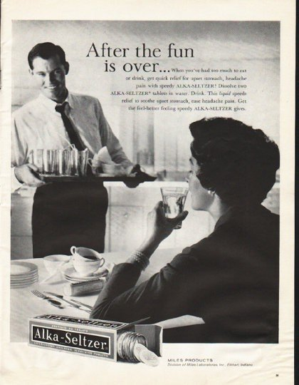"""1961 Alka-Seltzer Ad """"After the fun"""""""