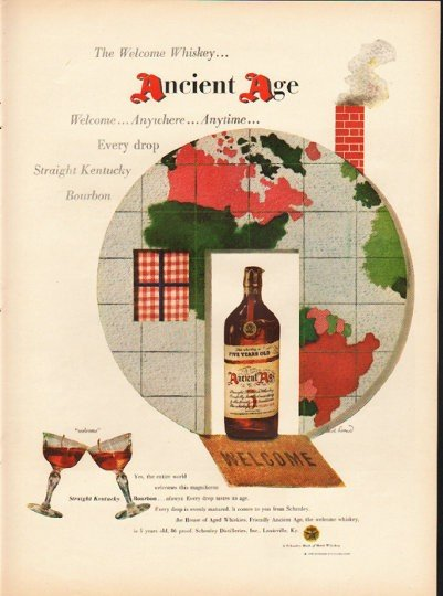 "1948 Ancient Age Whiskey Ad ""The Welcome Whiskey"""