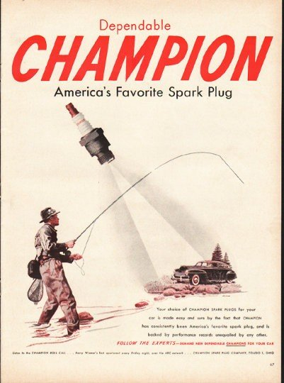 "1948 Champion Spark Plugs Ad ""America's Favorite Spark Plug"""