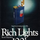 """1980 Viceroy Cigarettes Ad """"Rich Lights"""""""