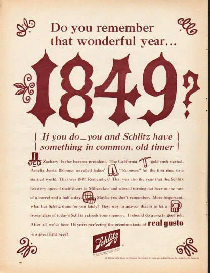 """1965 Schlitz Beer Ad """"Do you remember that wonderful year"""""""