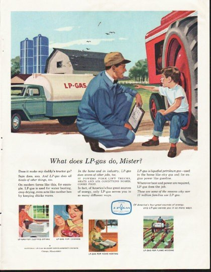 """1964 LP-gas Ad """"What does LP-gas do, Mister?"""""""