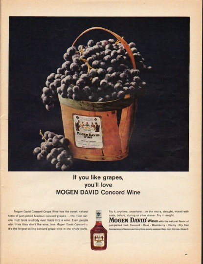 """1965 Mogen David Wines Ad """"If you like grapes"""""""