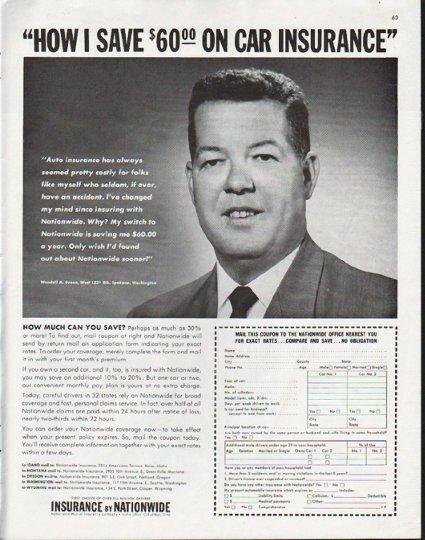 "1963 Nationwide Mutual Insurance Company Ad ""save"""