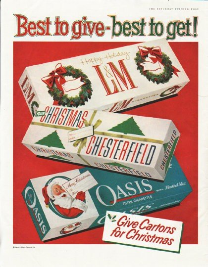 """1958 Liggett & Myers Tobacco Company Ad """"Best to give"""""""