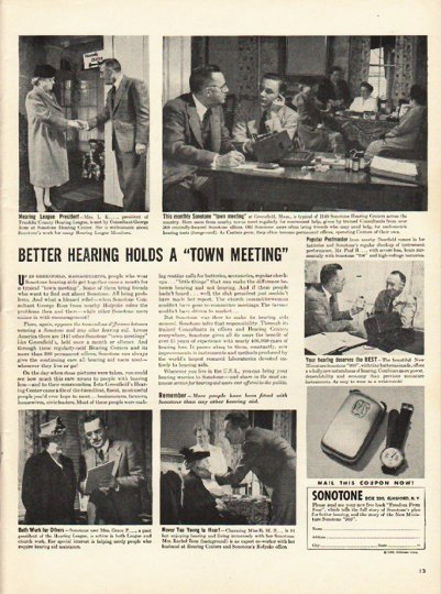 "1948 Sonotone Hearing Aid Ad ""Better hearing"""