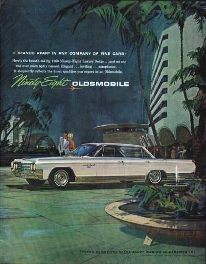 """1963 Oldsmobile Ad """"It Stands Apart"""" ~ (model year 1963)"""