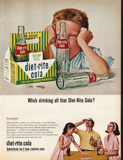 "1965 Diet-Rite Cola Ad ""Who's drinking"""