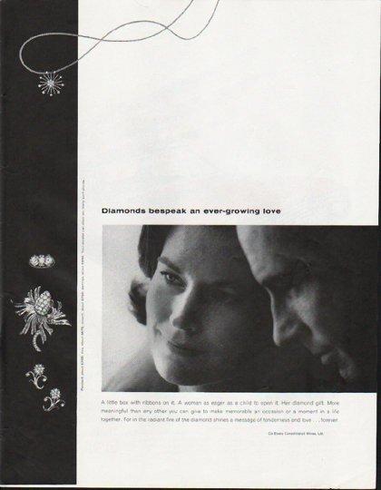"""1965 De Beers Diamond Ad """"ever-growing love"""""""