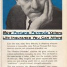 "1961 Fortune National Life Insurance Ad ""Fortune Formula"""