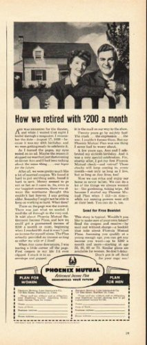 "1948 Phoenix Mutual Life Insurance Ad ""How we retired"""