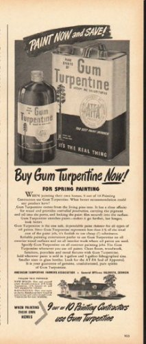 "1948 Gum Turpentine Ad ""Paint Now"""