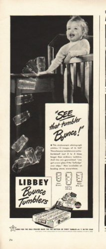 """1948 Libbey Bounce Tumblers Ad """"See that tumbler Bounce"""""""