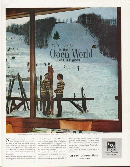 """1963 Libbey Owens Ford Ad """"Open World"""""""