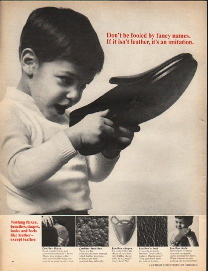 """1965 Leather Industries of America Ad """"Don't be fooled"""""""