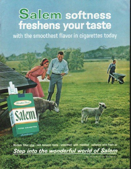 "1964 Salem Cigarettes Ad ""freshens your taste"""