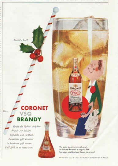 "1958 Coronet Brandy Ad ""Season's best"""