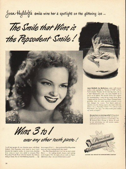 """1948 Pepsodent Tooth Paste Ad """"The Smile that Wins"""""""