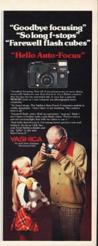 "1980 Yashica Camera Ad ""Goodbye focusing"""