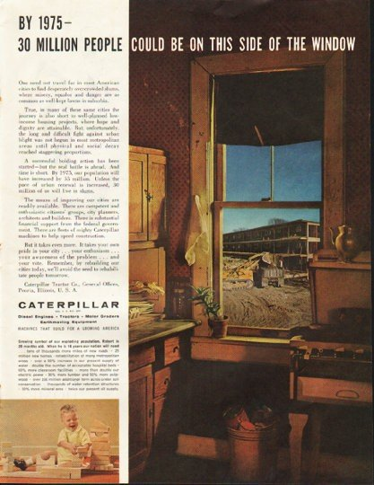 "1961 Caterpillar Ad ""30 million people"""