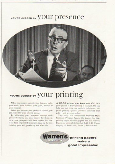 "1958 Warren's Printing Papers Ad ""your presence"""
