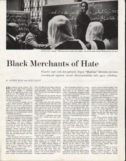 "1963 Muslims Article ""Merchants of Hate"""