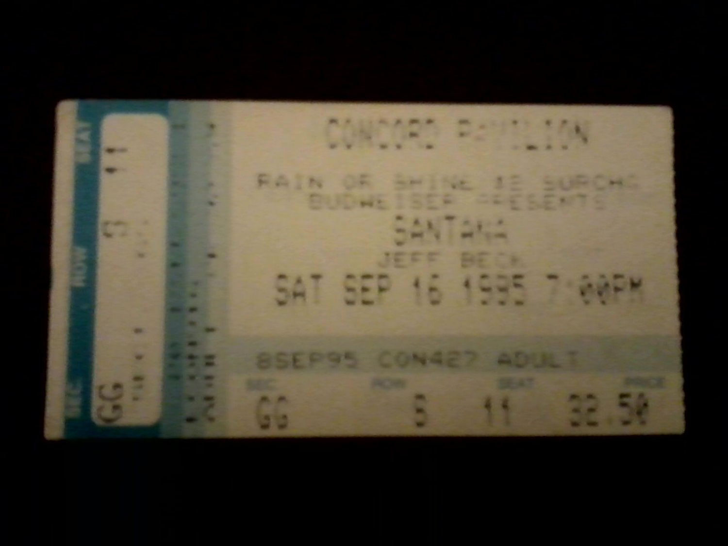 Santana & Jeff Beck VG+ Used Concert Ticket Stub Concord, Ca. 1995